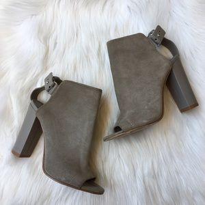 Vince Gray Suede Peep Toe Heels Sandals Booties 6